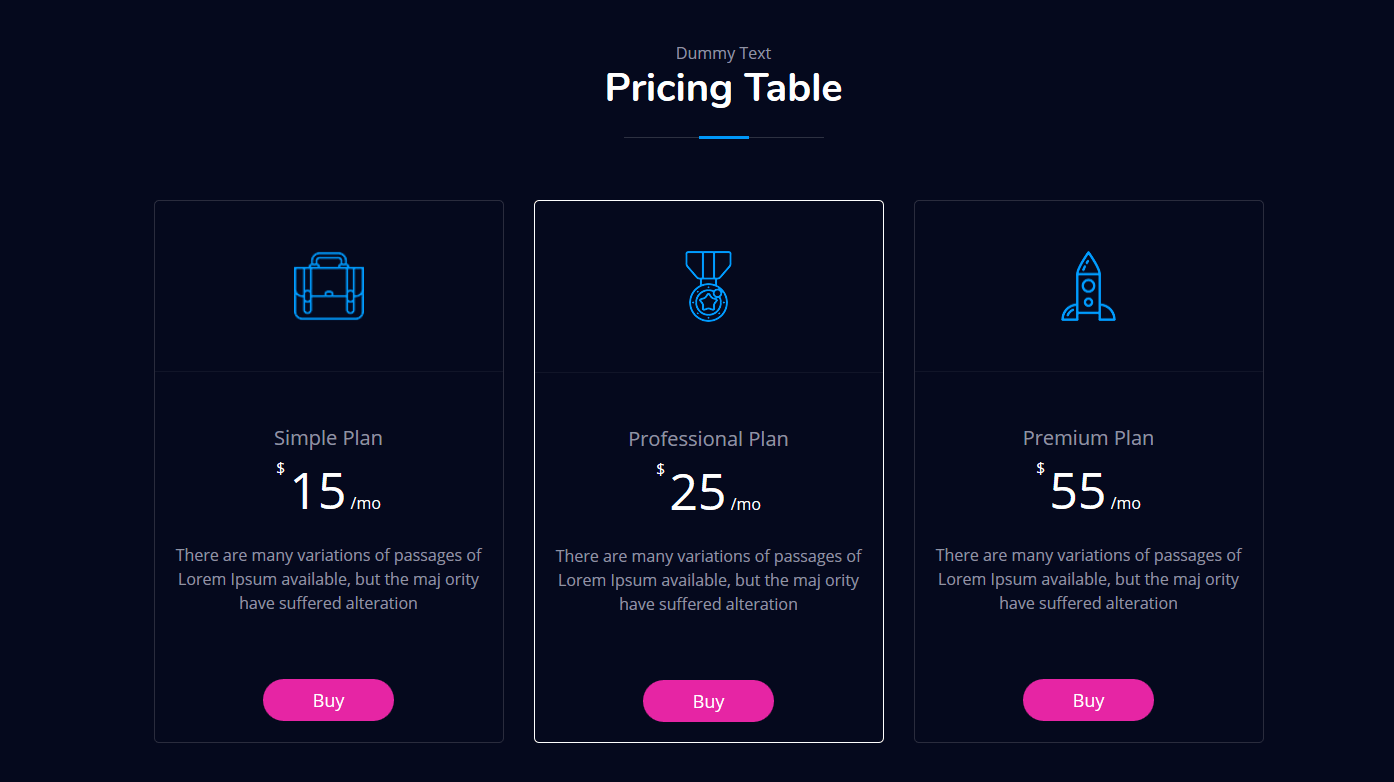 JD BizX - Pricing Table